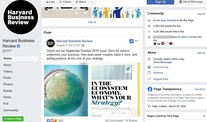 Akun Facebook Harvard Business Review